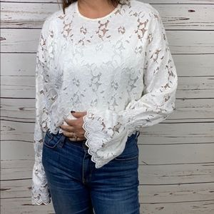 Zara Lace Top Long Bell Sleeve S White